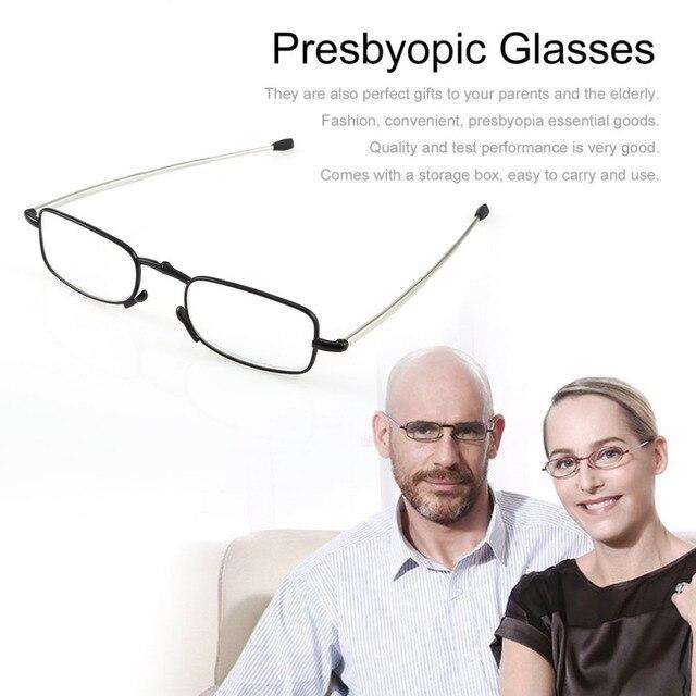 568fc78b54 Folding Reading Glasses Stainless Steel Frame Resin Lens Portable Presbyopic  Eyewear Glasses With Mini Glasses Case