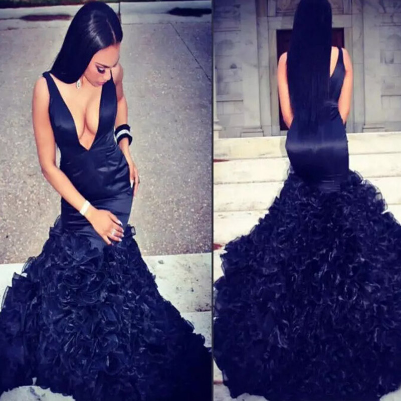 Sexy Deep V-neck Mermaid Evening Prom Gown Dark Navy Blue Simple Satin Organza Tiered Floor Length Dress For Wedding Party