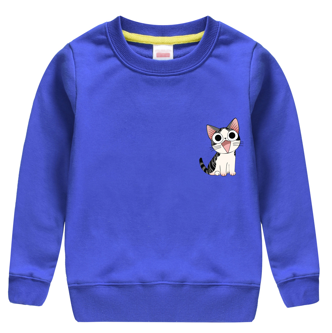 Lovely cat pattern printed winter autumn children sweater design for girl & boy keeping warm of casual clothing with 8 colors