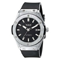 Jaragar Men Automatic Mechanical Watch Black Rubber Strap Date PMW085