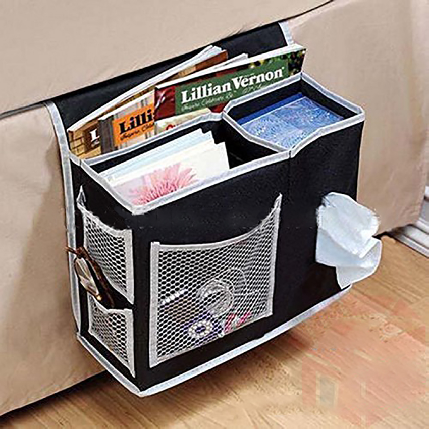 Sofa/Bed Bedside Cloth Storage Bag Magazines/Books/Newspaper/Remote Control/Phone/Tissues Container Holder Mesh Hanging Bags