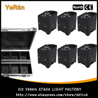 6 pack Battery Powered LED Par Light Wash Effect Uplighting DMX Wireless RGBWA 5 in 1 Color IRC Control