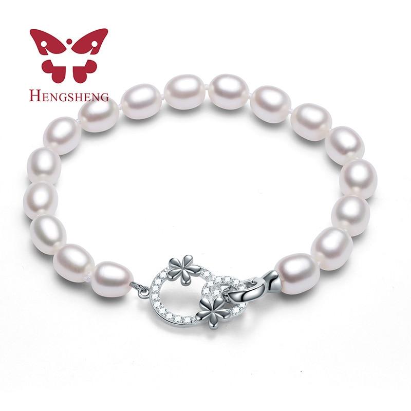 Skönhetsblomma AAAA Naturligt sötvattenspärlarmband för kvinnor Present, 2019 Ny Vit Rosa Lila Blandning Färg Fina Smycken Armband