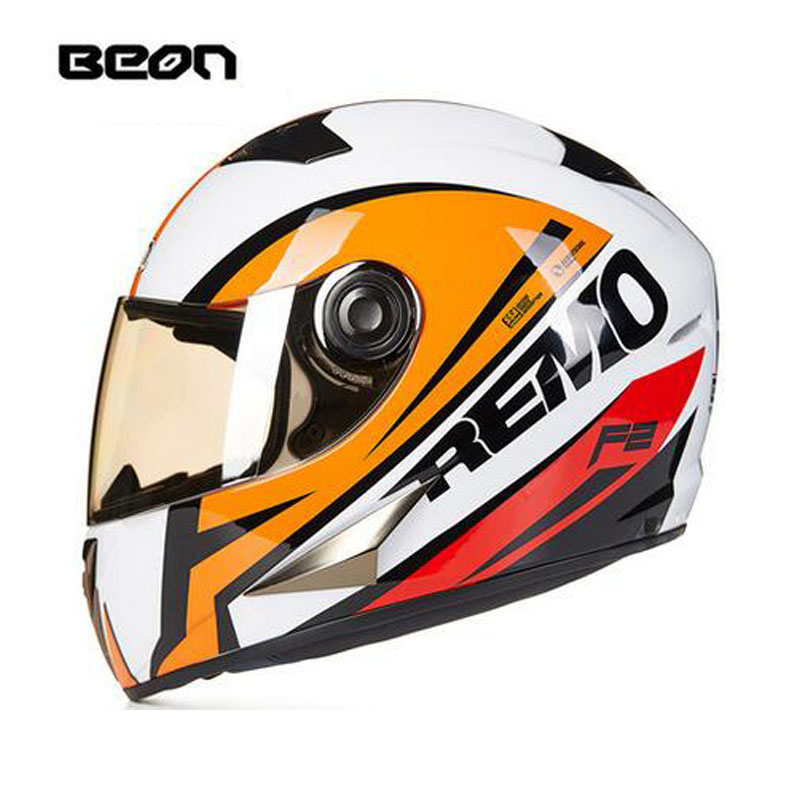 ECE white orange Hawkeye BEON full face motocross Helmet for women, motorcycle MOTO electric bicycle safety headpiece ece matte black beon full face motocross helmet for women motorcycle moto electric bicycle safety headpiece