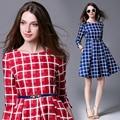 2016 новый Европейский высокое качество женская одежда случайный плед осень платье мода 3/4 рукавом праздник платья roupas feminina