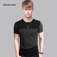 Plus Size 5XL Men Tops Tee Mens Fashion Match Color Black GreyT Shirt Short Sleeve