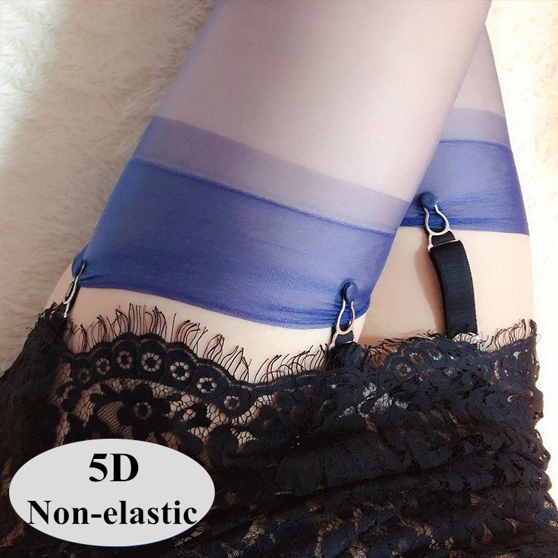 Vintage Non-elastic Sexy Thigh High Stockings For Women 5D Thin Nylon Stockings See Through Sexy Lingerie Female Long Medias