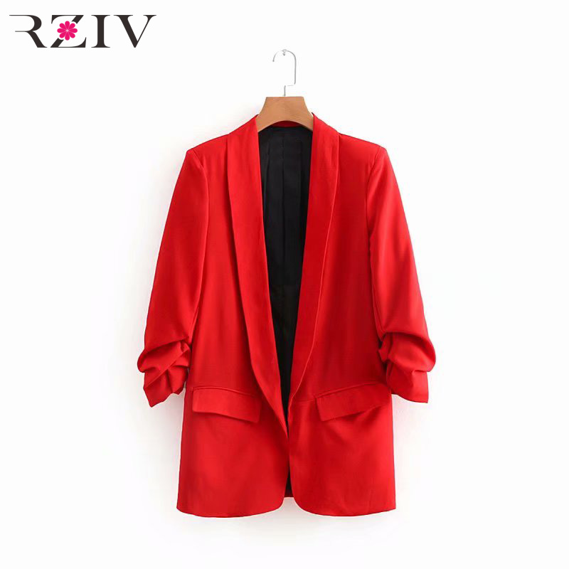 RZIV 2018 autumn female casual solid color suit pocket decorative pleated sleeves suit