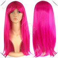 Rose Pink Wig Long Straight  Boa Hankokku Pink Purple Hair Cosplay Costume Synthetic Wig Rose Pink Wig