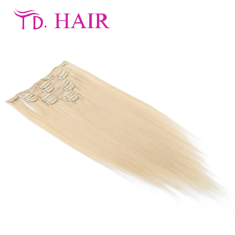 613 Clip in human font b hair b font extensions 7pcs 8pcs lot clip in