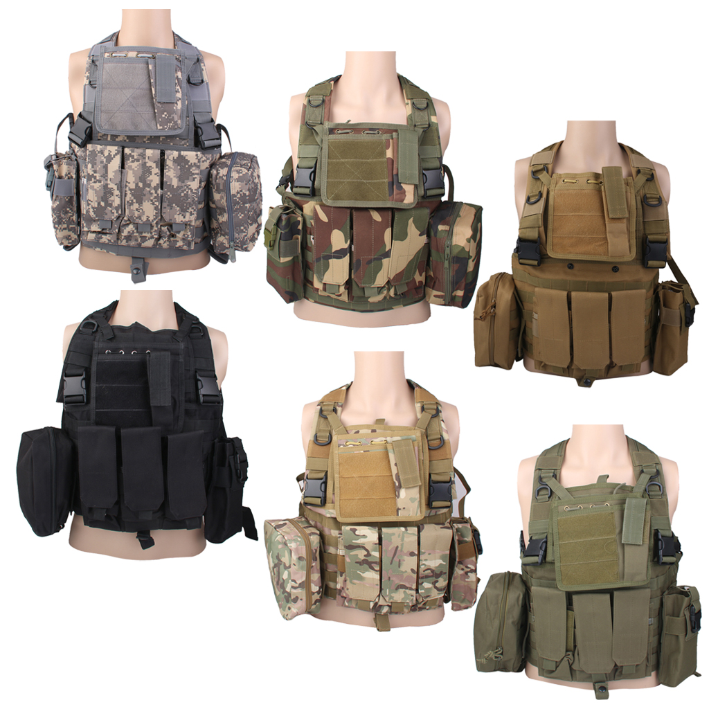 Adjustable Tactical Combat Molle Assault Military Army 800D SWAT Vest for Outdoor Hunting War Game Activities Protection