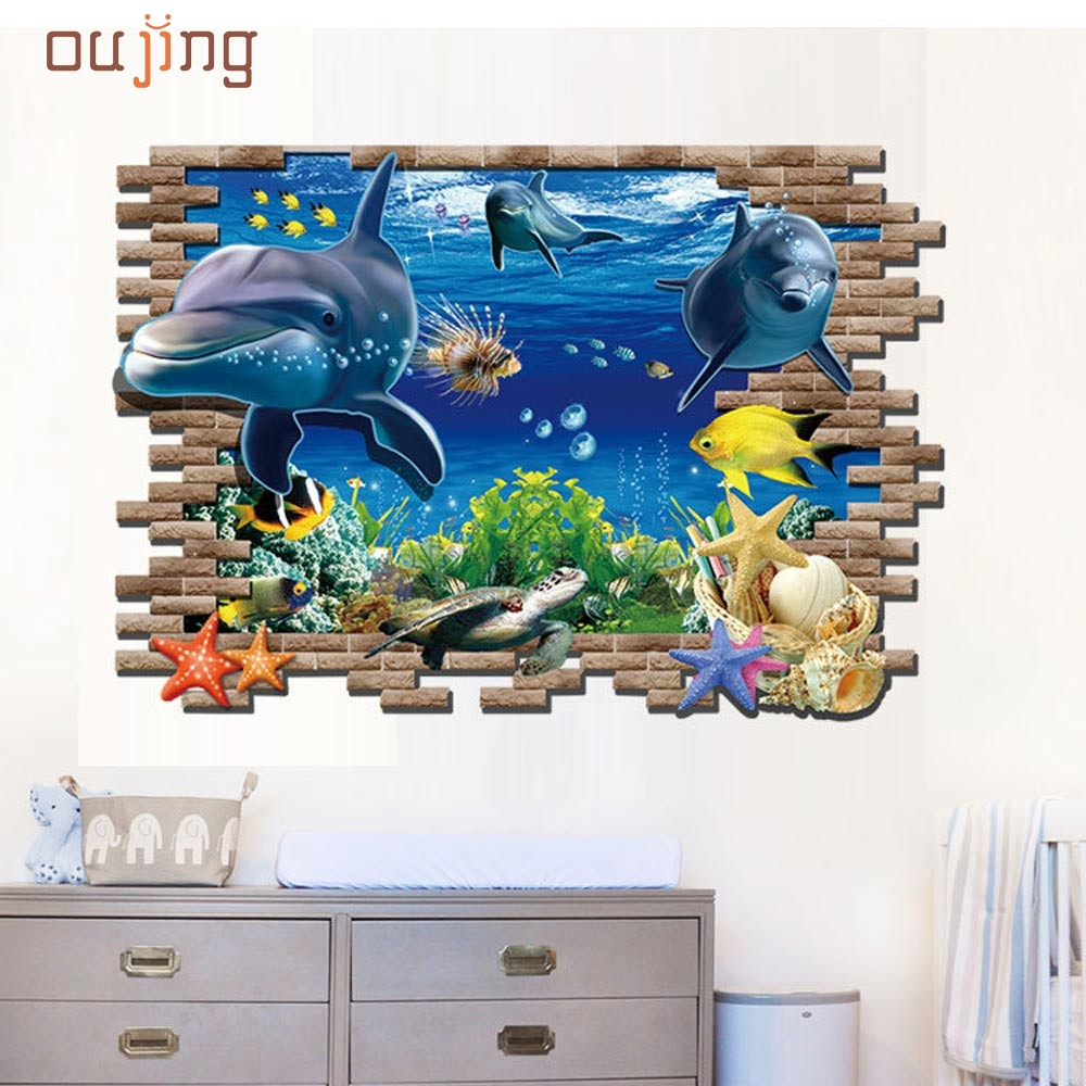 From the window to the wall whale - New Sea Whale Fish 3d Wall Stickers For Kids Room Removable Decoration Diy Pvc Sticker Wallpaper