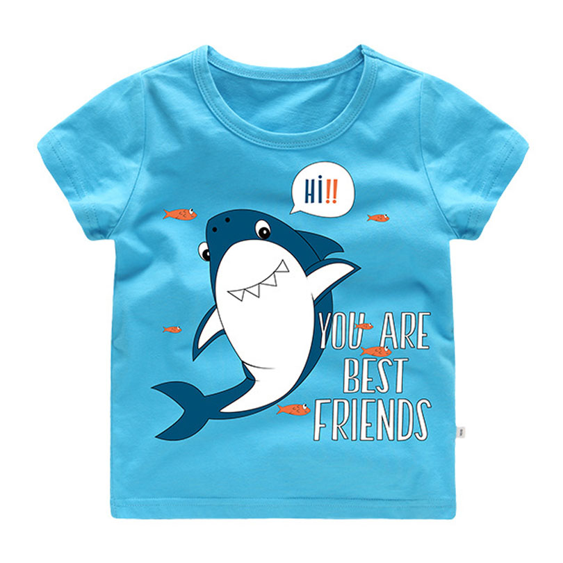 Cartoon Print Baby Boys Shark T <font><b>Shirt</b></font> For Summer Infant <font><b>Kids</b></font> Boys Girls T-<font><b>Shirts</b></font> Clothes Cotton Toddler Letter <font><b>BEST</b></font> <font><b>FRIENDS</b></font> Tops image