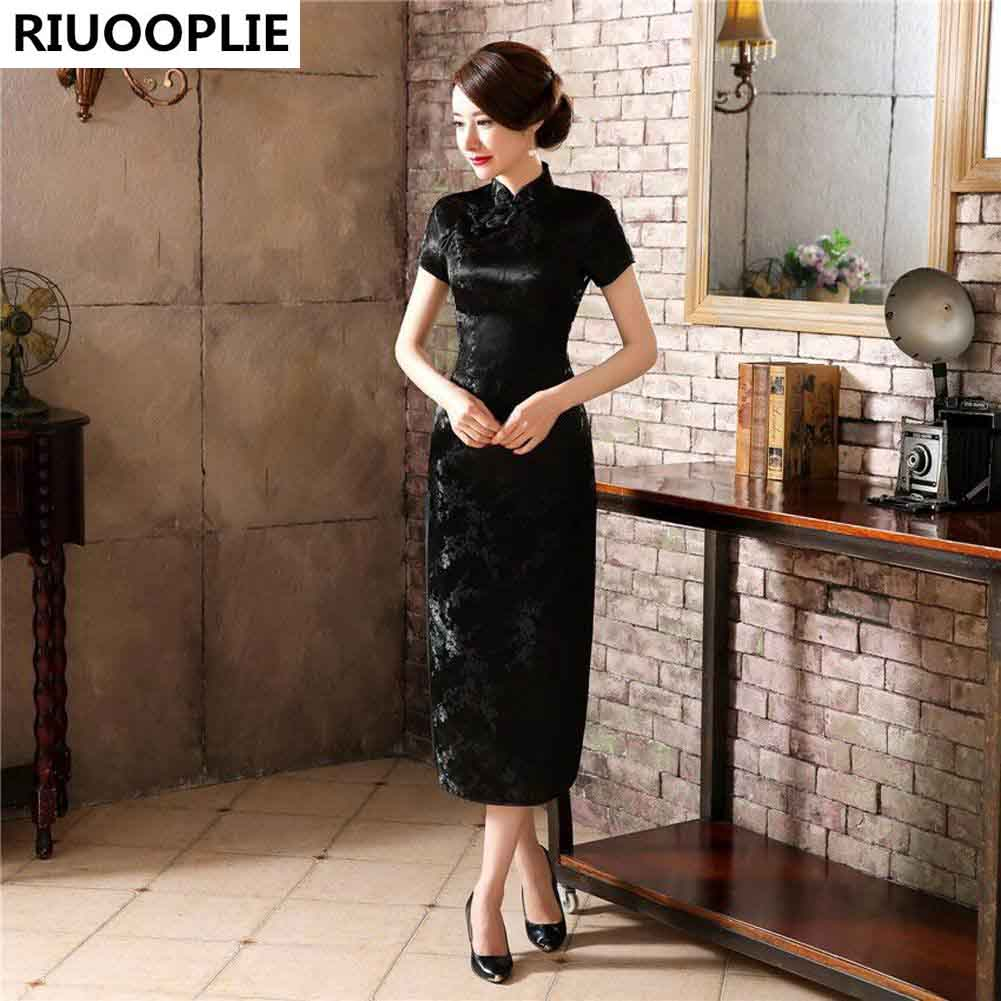 RIUOOPLIE Style Chinois Traditionnel Robe Femmes Long Cheongsam - Vêtements nationaux - Photo 4
