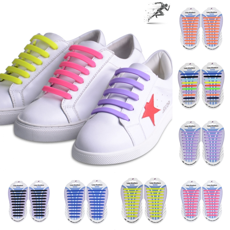 20Pcs/Lot New Novelty No Tie Shoelaces Silicone Shoe Laces for Unisex Children Running Elastic Silicone Shoe Lace All Sneaker no–talk therapy for children