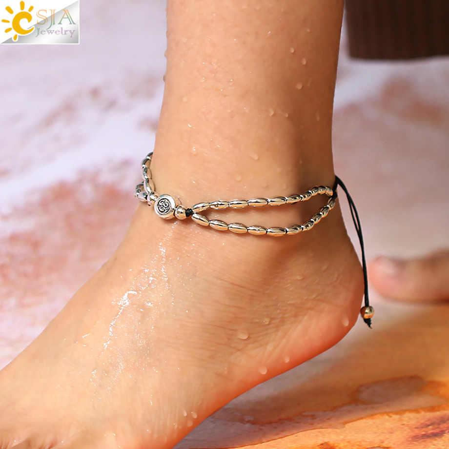 Csja Ом АУМ символ йоги украшение для лодыжки Для женщин металл серебристого цвета длиннозерный рис браслет на ногу из бисера на веревочной цепочке плетеный браслет на щиколотку; S327