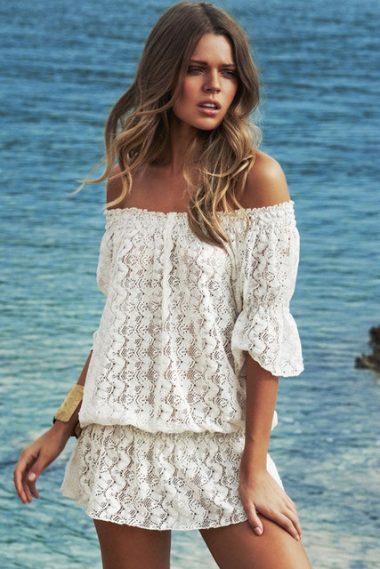 64754d052e5eb 2015 New Women Beach Cover Up White Sexy Off Shoulder Lace Cover-Ups female swimsuit  cover up summer beach tunic dress beachwear