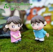 2pcs Shy Lovers Dolls Accessories Moss Micro-landscape Decoration DIY Lovers miniature figurines Decoration Home Decor(China)