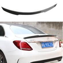 For Benz C-Class W205 Spoiler C63 C180 C200 C220 C250 2015 2016 4Door Car FD Style Carbon Fiber Rear Trunk Wing Spoiler недорого