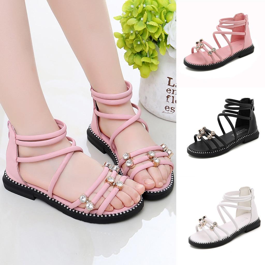 Girls Sandals Children Kid Roman Cross Tie Floral Summer Beach Casual Shoes Size