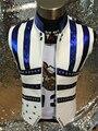 Настроить Мода Новый мужской Кожаный Жилет костюмы Ночной Клуб Певец Танец этап одежда Горный Хрусталь производительность Верхняя Одежда