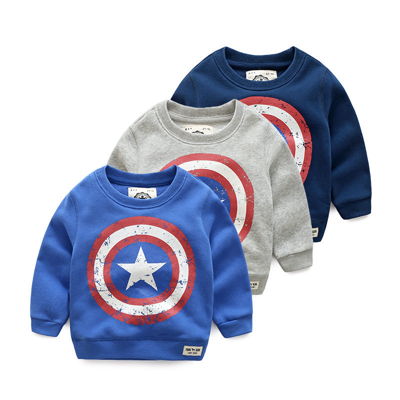 Boys hoodies American Captain Pattern Spring Autumn Children Coat Student Wear Children Sweatshirt Outwear Boys Clothes