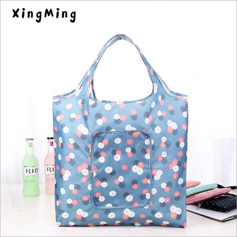 Fashion Eco friendly Shopping bag with zipper Women's Handbags Waterproof Printing Reusable shopping bag foldable Tote Bags