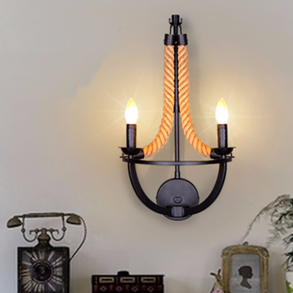 Vintage Loft Double Heads Marble Stone Shaded&Hand Knitted Hemp Rope Wall Lamp Retro Aisle Wall Sconce Industrial Wall Light vintage loft personality rope wall sconce light hand knitted hemp rope wall lamp retro aisle wall sconce wall industrial light