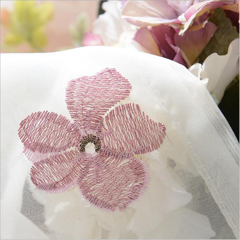 Embroidery Screen Romantic Pink Cherry Blossom Bedroom Window Voile ...