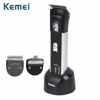 Kemei 6 en 1 recargable de pelo de titanio Clipper máquina de afeitar eléctrica de barba de los hombres herramientas de diseño para cuidado del cabello nuevo