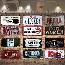 Cartel de Metal de advertencia, cartel de estaño, plato retro, decoración de pared, inodoro, No fumar, carteles de Metal Vintage, Bar, Club, placa decorativa para pared