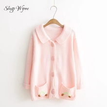 Shugo Wynne 2017 Otoño Invierno mujeres nuevas Sweet lapel manga larga  bolsillo casual Rosa cardigan suéter de punto japonés Mor. e2232054f52c