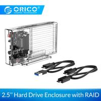 ORICO 2.5 inch Hard Drive Enclosure with RAID Transparent 10Gbps External SSD Box SATA3.0 HDD Case Support For Windows/Mac/Linux