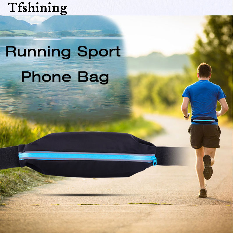 Tfshining Waterproof Running Sports Bags GYM Waist Phone Bags Packs Belt Pouch case for cell phone 4 5 5 inch mobile phone bags in Phone Pouches from Cellphones Telecommunications