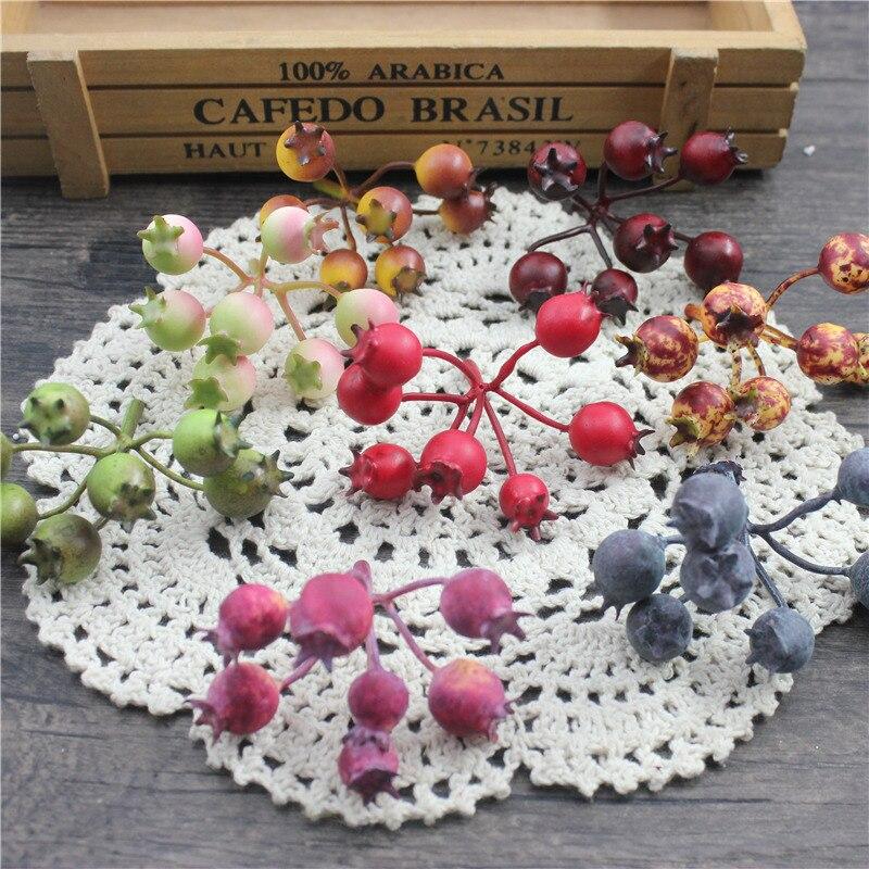 2 букет из 9 ложных ягод маленькие Ягоды Искусственные цветы многоцветный балауста тычинки бусины Свадебные украшения