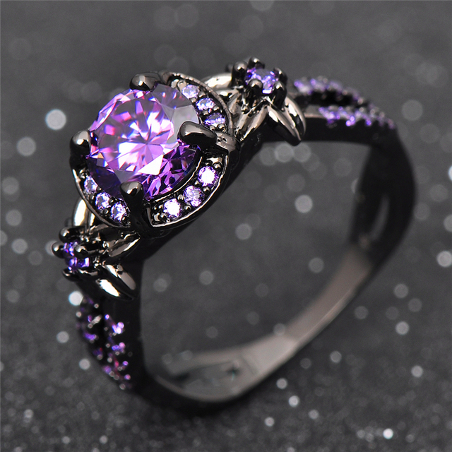 Charming Stone Ring Purple Zircon Fashion Women Wedding Flower Jewelry Black Gold Filled Engagement Rings Bague