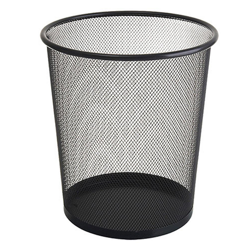 Metal Mesh Wastebasket Round Trash Can Recycling Bin Office Tools Supplies  Black