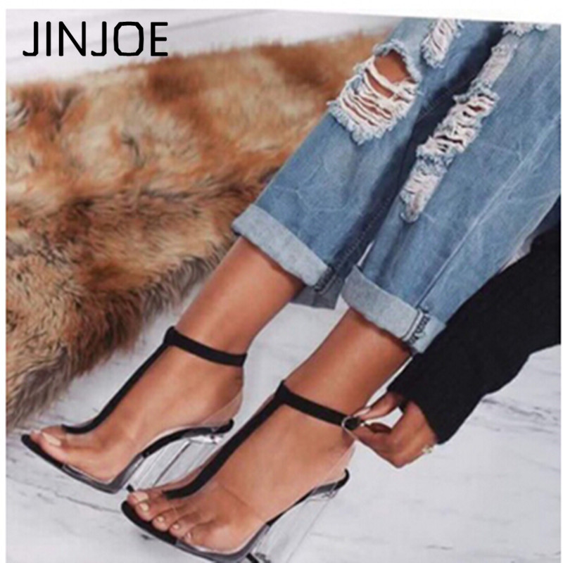 JINJOE Gladiator Sandals Ladies Pumps High Heels Shoes Woman Clear Transparent T-strap Party Wedding Dress Thick Crystal Heel