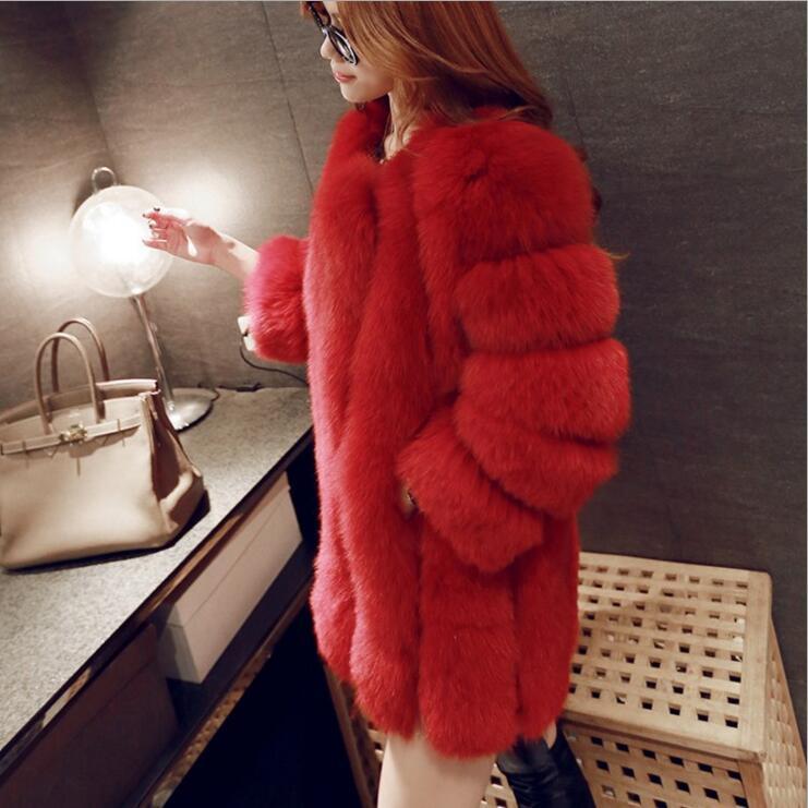 Luxe De Marque rose Renard Fourrure Manteaux blanc Haute Rouge Qualité Veste pu camel colcolor17 Ciel noir Faux colcolor15 Long D'hiver Manteau lavande Femmes EzCdxqw4z