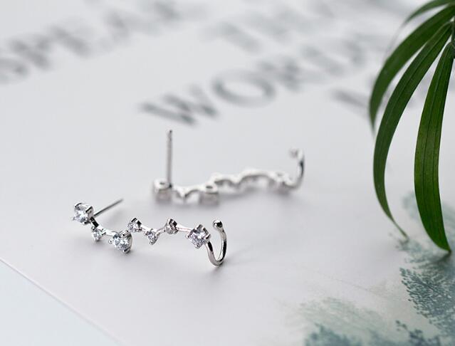 HTB1OOWacuSSBuNjy0Flq6zBpVXad 1pair 100% Real. 925 Sterling Silver Fine Jewelry pRONG cz stone Climber Cuff Clip earrings new (NO pierced) gtle1936
