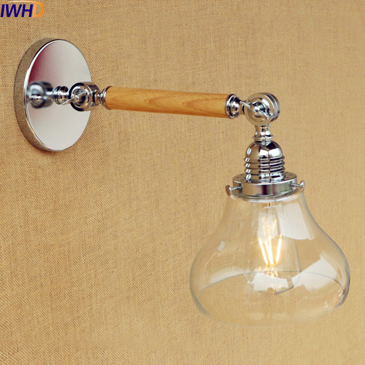 IWHD Retro Long Arm Vintage Wall Lamp LED Glass shade Industrial Wooden Wall Lights Fixtures Loft