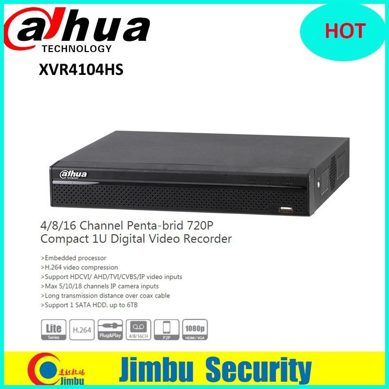 DAHUA XVR4104HS 4 Channel 720P 1U Digital Video Recorder Support HDCVI/ AHD/TVI/CVBS/IP video inputs Support 1 SATA HDD