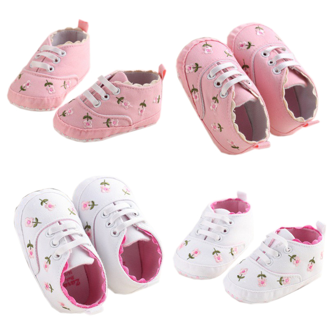 0-18 Months First Walkers Toddler Kid Baby Girl Floral Embroidered Soft Shoes For Newborn Walking Shoes  5