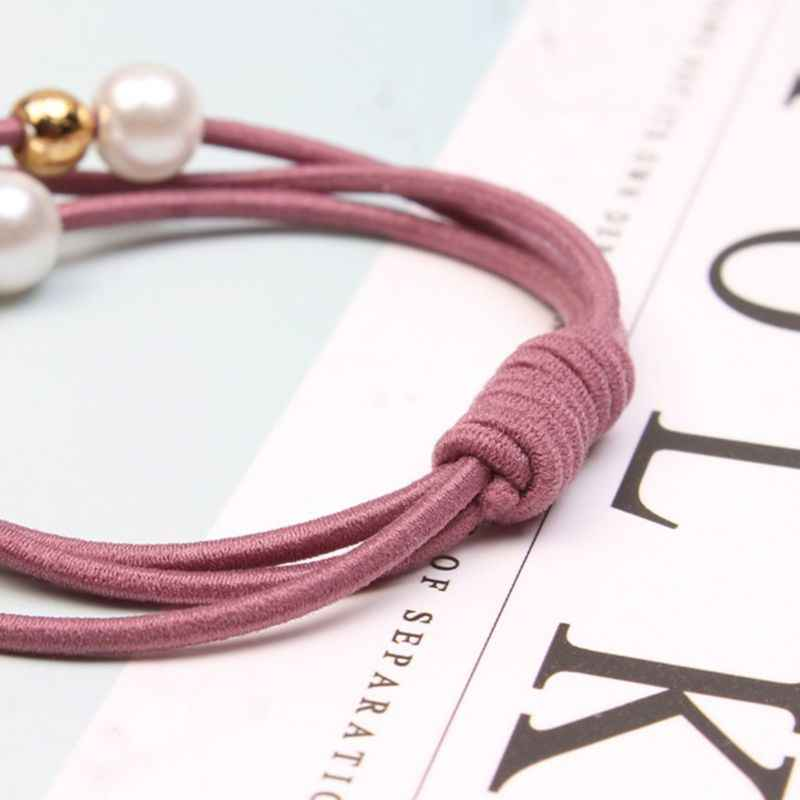 Korean Women Three Rubber Band Hair Rope Cute Imitation Pearl Charms Ponytail Holder Gum Knotted Scrunchies Bracelet
