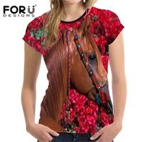 FORUDESIGNS Horse T Shirt Women 3D Crazy Horse Printing T Shirt Woman Fashion T Shirt Casual