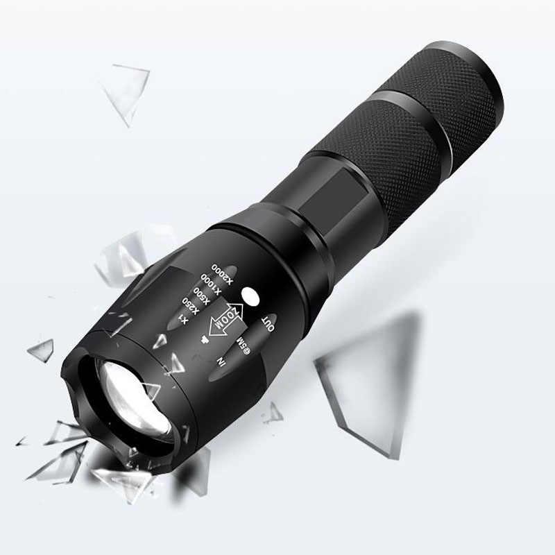 Linterna LED recargable, potente linterna Led de 4000 lúmenes, potencia XML T6, para exteriores, Camping, con batería de 18650