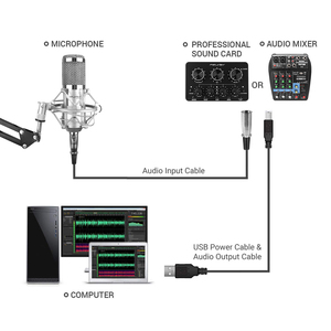 Image 4 - FELYBY ميكروفون ذو مكثف احترافي لاستديو تسجيل الأصوات على الحاسوب مع مقابلة كاريوكي ومصدر طاقة رئيسي من FELYBY bm 800