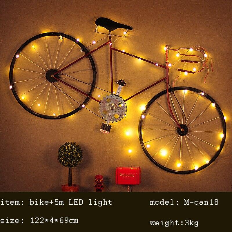 Классический Утюг Творческий Настенный ремесло исследование висит настенные часы с светодио дный украшения дома ремесло фигурки велосипе