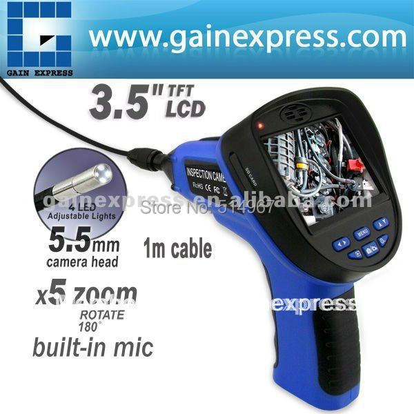 "3.5"" Endoscope Borescope Snake 5.5mm LED Camera DVR Rotatable Waterproof USB 2GB"