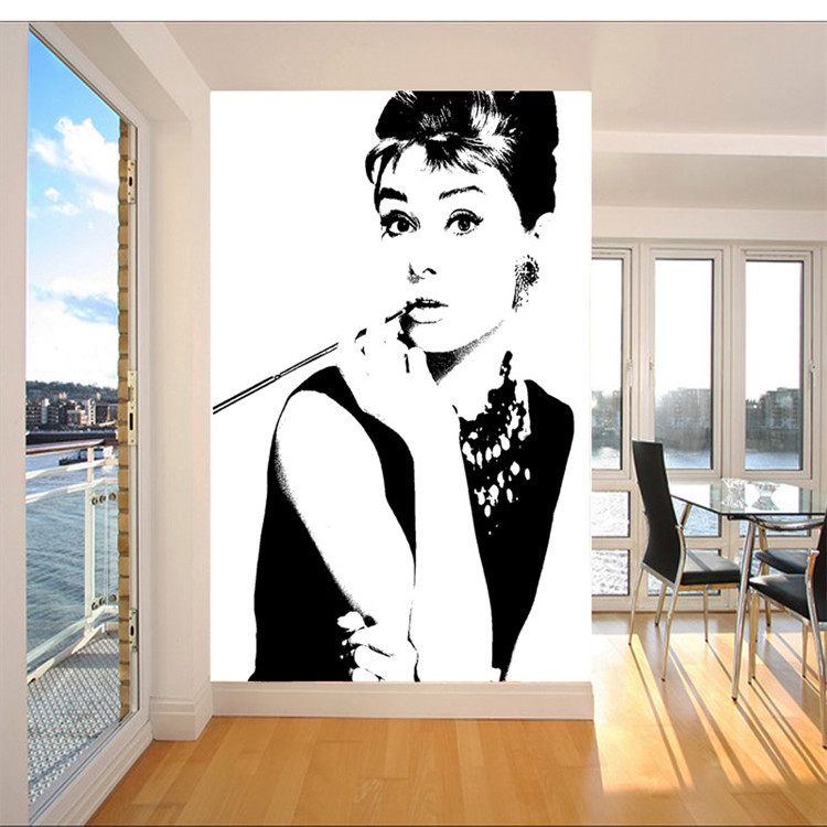 Elegant Audrey Hepburn Wall Mural POP Art Photo Wallpaper Canvas Silk  Classic Black And White Wallpaper Room Decor Bedroom In Wallpapers From  Home ... Part 16